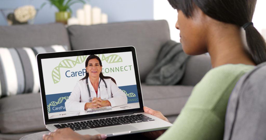 Genetic online counseler patient green sweater